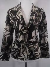 Beautiful Women's Size 2 Chico's Brown White Floral Silk LS Fitted Lined Jacket