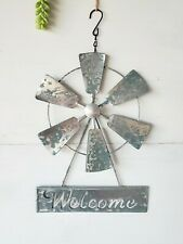 Metal Garden Welcome Wind Mill Sign Yard Decor Hanging Sign!