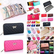 Womens Clutch Leather Long Handbag Bowknot Wallet Coin Money Long Zip Purses