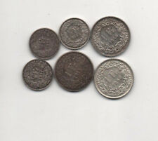 Switzerland Helvetia 6 silver 1/2F 1921 1941 1944 1F 1914 1946 1958