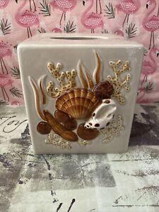 Seashells Ceramic Tissue Box Cover Beach Decor Bathroom