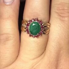 Precious 14k Yellow Gold Natural Emerald w/ Ruby Cluster Large VTG Ring UNIQUE