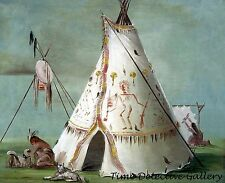 A Crow Lodge of 25 Buffalo Skins - 1832- George Catlin Art Print