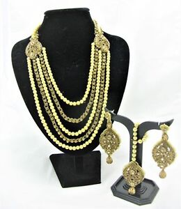 INDIAN NECKLACE SET BOLLYWOOD STYLE GOLDEN PAKISTANI RANI HAAR JEWELRY EARRING