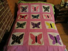 Beautiful Butterfly Appliqued Quilt Top New