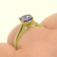 Engagement Ring 1ct Solitaire Tanzanite Diamond Unique 9ct Gold UK Hallmarked