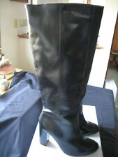 Womens  Tall Knee High Heeled Dress Boots Black Leather  Pull-on 9 Medium NEW