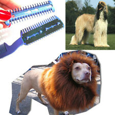 Pet Hair Trimmer Comb 2 Razor Rakes Cutting Grooming Clean Tool for Dog Cat