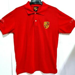 Porsche Polo T-Shirt Men Size Medium Red Short Sleeve Embroidered Logo Patch Tee