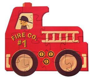 NEW Handcrafted Wooden Fire Truck Puzzle, preschool kindergarten, Made in USA