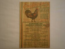 VINTAGE EATON'S CHICKEN HOUSE WOODCUT POSTCARD BEVERLY HILLS & LOS ANGELES CA