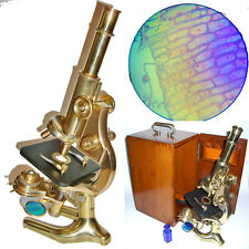 BEAUTIFUL 100 YEAR OLD CARL ZEISS ANTIQUE MICROSCOPE VINTAGE