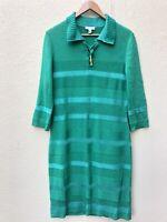 St John  Sport Shirt Dress Wool Blend Green Fitted Lace Up Size  Medium