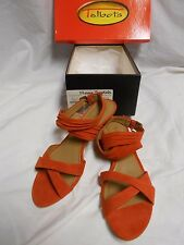 New W/Box Talbots Ladies Flame Suede Wedge Sandals Size 7.5M