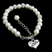 Junior Bridesmaid Ivory Pearl Rhinestone Bracelet,Children's Wedding jewelry