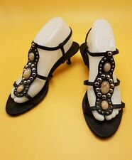 Shoes Black Leather Strappy Sandals Franco Sarto Jaded Bling Heels 8 Med EUC
