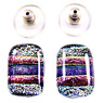 Striped Dichroic Glass Stud Earrings Purple Magenta Silver Pink Pastel Post 15mm