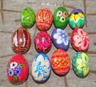 Lot of 12 Wooden Easter egg Ukrainian pysanky chicken size painted pisanky