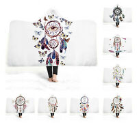 Ethnic Dream Catcher Butterfly Feathers Adult Kids Fleece Hooded Blanket Throw