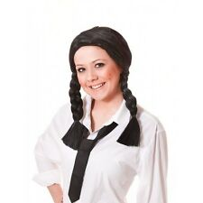 SCHOOL GIRL WIG black centre parting PLAITS pig tails
