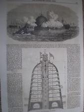 Hall & Bush Modello per Fiume Tamigi e Londra DIFESA guarnigioni 1860 VECCHIE STAMPE
