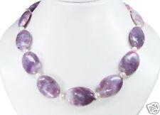 Collar BELLO de Jaspe Lila con perlas de Agua Dulce