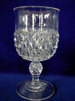 Vintage Mid-Century Modern TIFFIN / INDIANA Diamond Point Pressed Glass Goblet