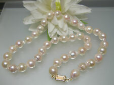 Vintage Japanese Akoya baroque cultured pearl 8.5-9 mm necklace 14k gold clasp