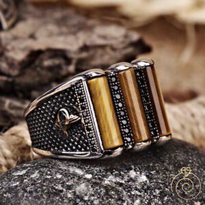 Handmade Ottoman Mens Natural Tiger Eye Stone Boho Turkish Silver Ring Cool Gift