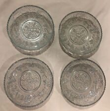 """Set Of (4) Glass Bowls 5"""" Round X 1"""" Deep Grapes Design"""