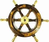 Vintage Ship Wheel Wood & Brass Nautical Wheel with Six Brass Nob 18 Inches Item