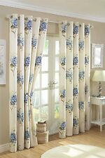 ASTON BLUE FLORAL CREAM 90 x 90 READY MADE RING TOP EYELET FULLY LINED CURTAINS