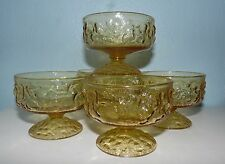 5 Vintage Anchor Hocking Glass Milano Amber Footed Sherbets Dessert Dishes RETRO