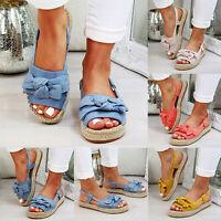 Womens Flatform Sandals Embellished Slingback Comfy Summer Bowknot Shoes Sizes