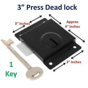 """Press Dead Lock Gate, Cupboard, Door & Shed, 1 Key, Size 3"""" x 4"""", Black Locks"""