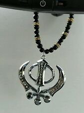 SILVER Plated Punjabi Sikh Large Khanda Pendant Car Hanging with diamonte RS2
