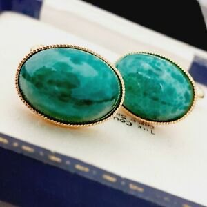 Vintage 1950s Green Marble Peking Glass - Oval Gold Plated Cufflinks