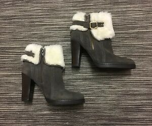 M&S Autograph Women's White Faux Fur Mink Suede High Heeled Ankle Boots UK 3.5