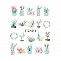 Nail Art Water Decals Stickers Transfers Fern Leaf Flowers Floral Cactus (618)
