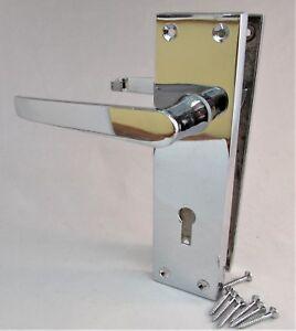 Chrome Modern Victorian Straight LOCK Internal External Door Handles SETS D1