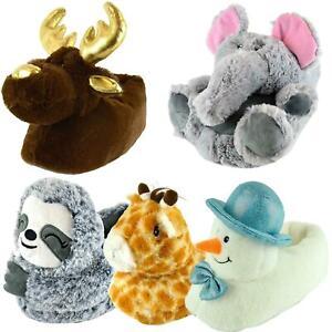 Ladies Novelty 3D Animal Soft Plush Slippers Christmas Gift Slip On Sizes 3 - 8