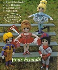 "Cloth doll 22"" pattern Cheerleader Ballerina girl Baseball Football boy sprots"