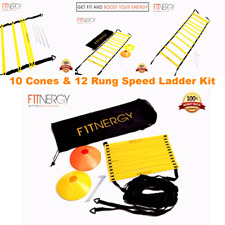 Training Equipment Kit Agility 12 Rung Ladder Speed 10 Cones For Football Soccer