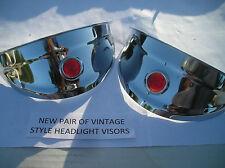 NEW PAIR OF VINTAGE STYLE CHROME RED DOT HEADLIGHT VISORS !