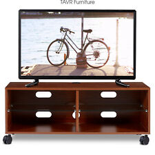 """Rolling Wood TV Stand Cabinet for up to 55"""" LED LCD TVs Entertainment Center"""