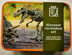 Dinosaur excavation in a tin - find & build 2 dinosaurs - Gift in a Tin range