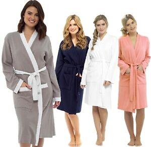 Ladies Kimono Lightweight Waffle Bath Robe Cotton Spa Dressing Gown