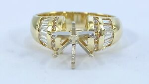 .50 ct DIAMOND  semi mount solitaire engagement ring 14k yellow gold (VIDEO)
