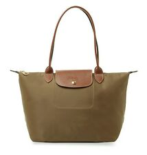 NEW AUTHENTIC LONGCHAMP LE PLIAGE MEDIUM NYLON LEATHER TOTE BAG New Khaki $125