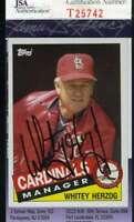 Whitey Herzog 1985 Topps Jsa Coa Hand Signed Authentic Autographed